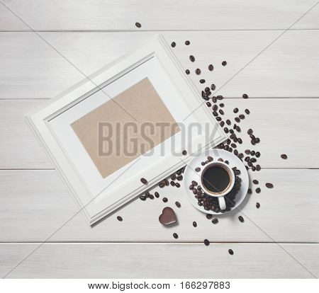 Background With Wooden Frame And Coffee