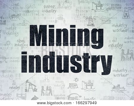 Industry concept: Painted black text Mining Industry on Digital Data Paper background with   Hand Drawn Industry Icons