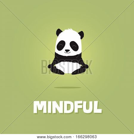 Cute cartoon illustration of panda meditating and levitating in the air