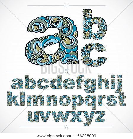 Ecology Style Flowery Font, Vector Typeset Made Using Natural Ornament. Alphabet Lowercase Letters C