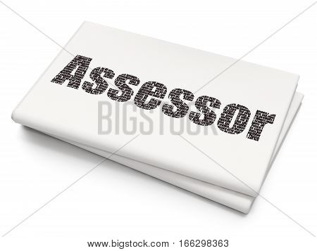 Insurance concept: Pixelated black text Assessor on Blank Newspaper background, 3D rendering