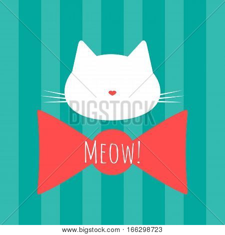 Silhouette of a cat's head. Bow and text Meow! Background with vertical stripes. Blue white pink.
