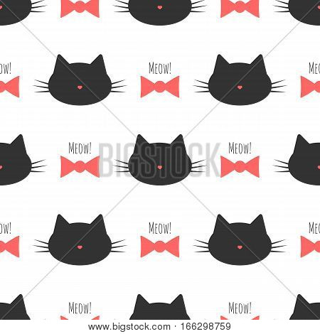 Silhouette of a cat's head bow text Meow! Seamless pattern. Pink black cream color.