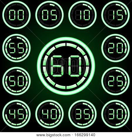Digital timer (second, glow, neon, 60 )