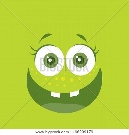 Funny smiling monster. Smile character. Happy germ with tooth. Monster with big eyes and mouth. Vector cartoon funny bacteria illustration in flat style design. Friendly virus. Microbe face