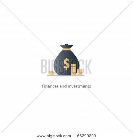 Prize fund money, lottery win icon, budget plan, finances investments, fortune concept vector illustration