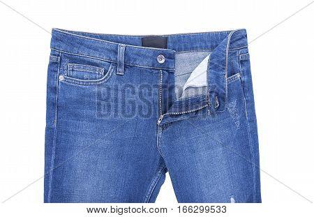 Zipper denim pants. Isolated on white background.