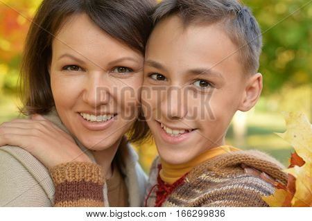 Portrait of a mother and son close up