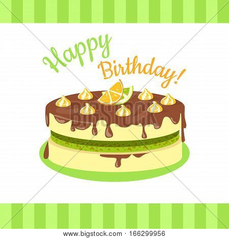 Happy birthday cake with lemons, limes, mandarins and oranges isolated. Cake with citrus fruit and chocolate. Wedding cake , dessert cookies, food sweet pie with cream and fruit vector illustration