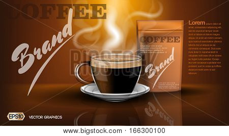 Realistic hot coffee cup and package Mockup template for branding, advertise and product designs. Fresh steaming hot drink in a cup
