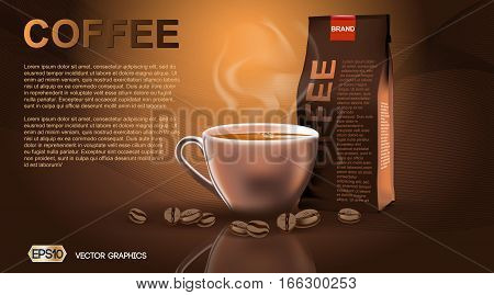 Realistic hot coffee cup and package Mockup template for branding, advertise and product designs. Fresh steaming hot drink in a cup with roasted beans