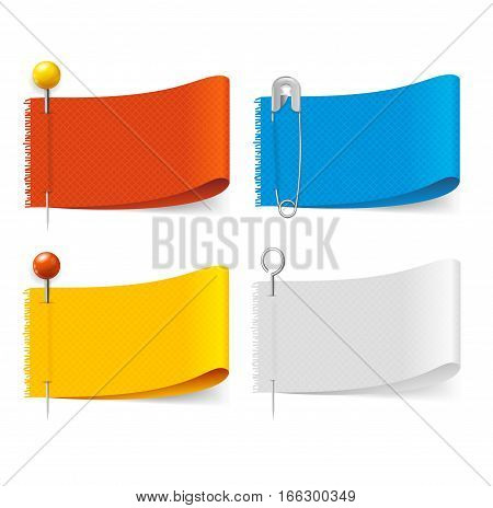 Realistic Color Fabric Clothing Labels and Pins Set for Business. Vector illustration