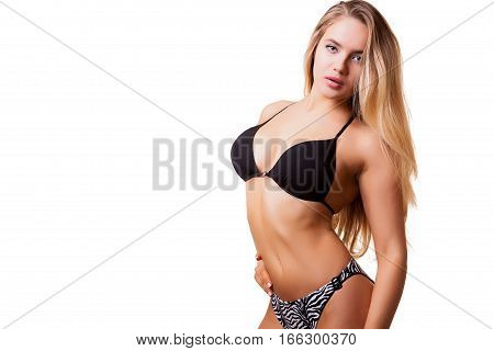 Hot Girl In Swimsuit Over White Background