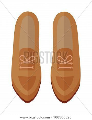 Pair of womens shoes icon. Beige leather or suede loafers with laces for autumn season flat vector illustration isolated on white background. For shoes store ad, wear concept, app button, web design