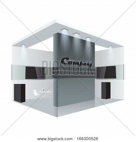 Illustrated unique creative exhibition stand display design info board, roll up. Empty trade booth template. Vector Display Mock-up and corporate identity