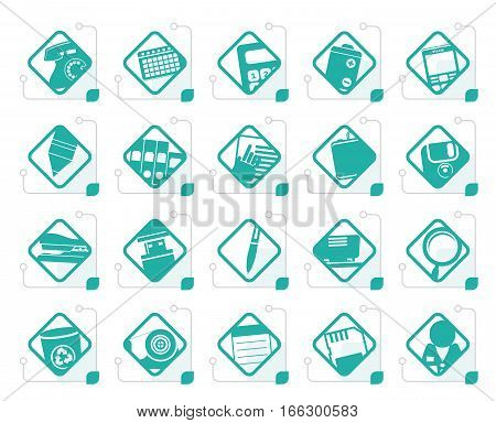 Stylized Office tools icons -  vector icon set 3