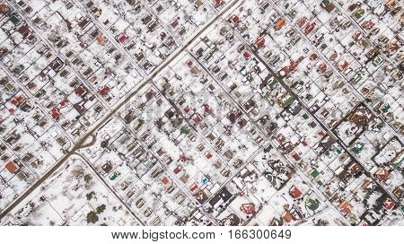 Aerial view of Suburban town in winter. Kiev. Ukraine. Top view