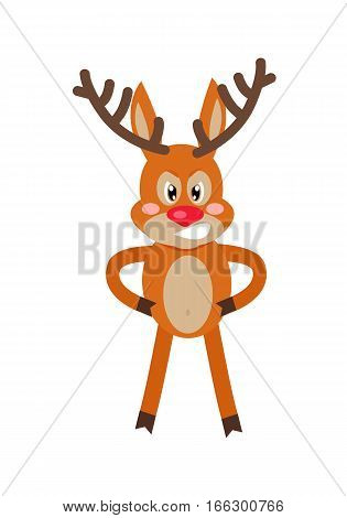 Angry deer cartoon. Gloomy horned reindeer standing with arms in akimbo, clenched teeth, mad eyes flat vector illustration isolated on white background. For icons, emotions concepts, logo, web design
