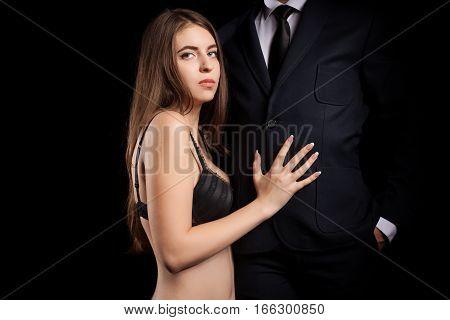 Woman Embracing Sexy A Man