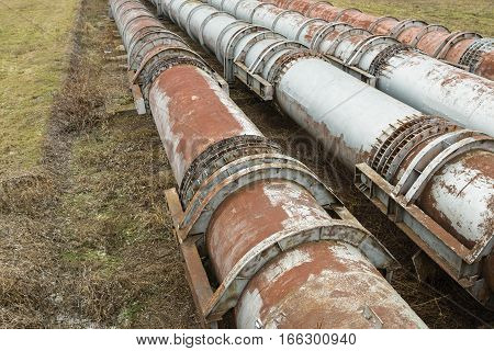 The pipes of the old factory. Steal big pipeline. Stock image.
