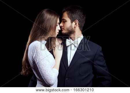 Woman In Sexy Body Lingerie Next To Businessman