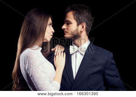 Gorgoeus Woman In Body Lingerie Next To Man In Suit