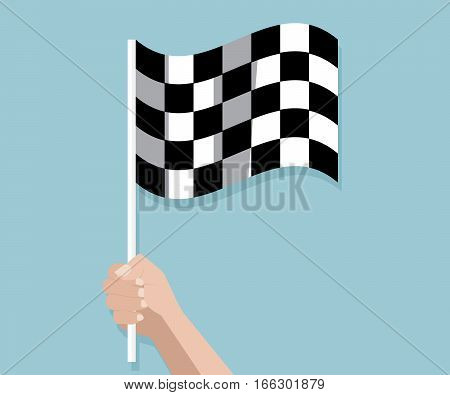 hand holding checkered race finish flag vector illustration