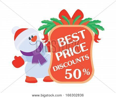 Best price discounts 50. Snowman with sale offer poster. Sticker for winter holidays discounts. Flat design. Big sale, special offer, best price, total sale, best deal today. Vector illustration