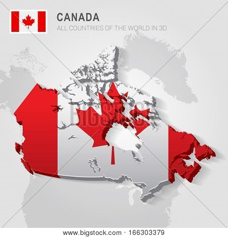 Canada painted with flag drawn on a gray map.