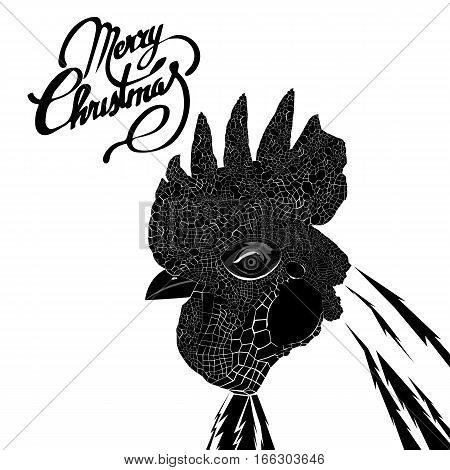 Rooster. Vector illustration. Greeting symbol of 2017 on the Chinese calendar. Happy new year 2017