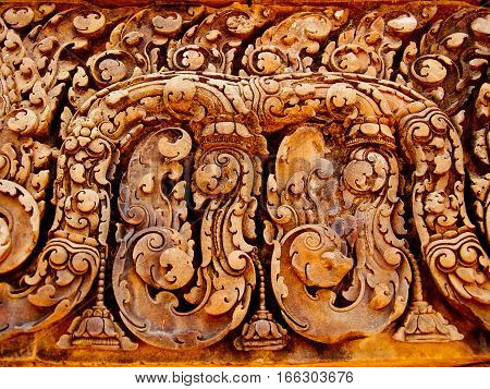 Bass relief tantric carvings on Banteay Srei Temple
