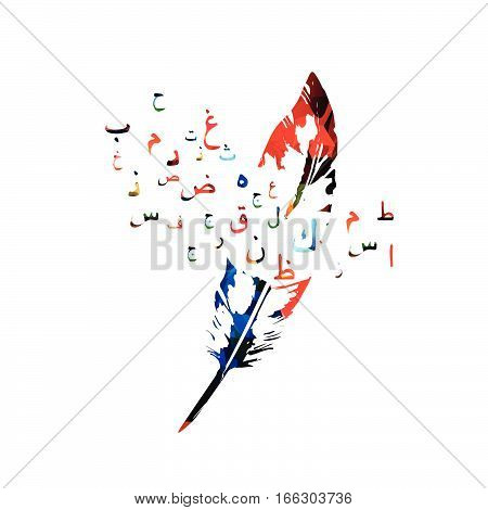 Colorful feather with Arabic Islamic calligraphy symbols isolated vector illustration. Education and writing background with Arabic alphabet text. Typography design for poster, brochure, banner, flyer