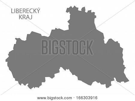 Liberecky Kraj Czech Republic Map Grey