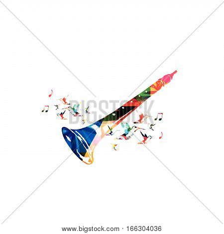 Colorful indian shehnai with music notes and hummingbirds isolated. Music instrument background vector illustration. Design for poster, brochure, invitation, banner, flyer, concert and music festival