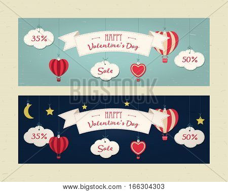 Sale header or banner set with discount offer for Happy Valentine's Day celebration. Day and night. Clouds balloons moon stars ribbon heart. Shop market poster design. Vintage style