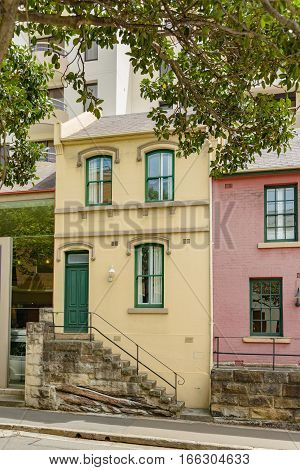 19th century brick semi-detached houses in Harrington Street in The Rocks district of Sydney Australia.
