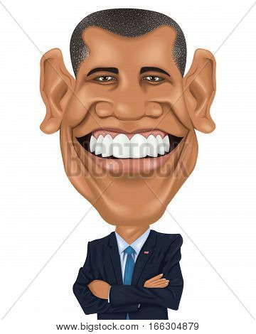 USA President Cartoon Caracter Funny Charicature Political Celebrity Barack Obama