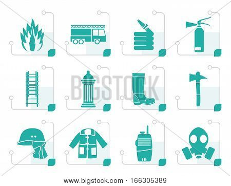 Stylized fire-brigade and fireman equipment icon - vector icon set