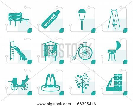 Stylized Park objects and signs icon - vector icon set