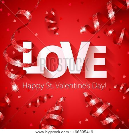 Happy Valentine's day LOVE lettering background with serpentine and heart confetti. Beautiful holiday poster banner flyer design.