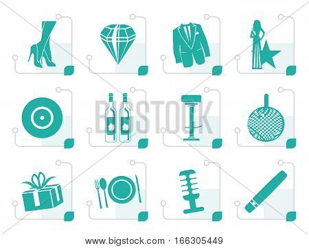 Stylized Luxury party and reception icons - vector icon set
