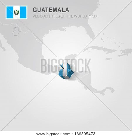 Guatemala painted with flag drawn on a gray map.