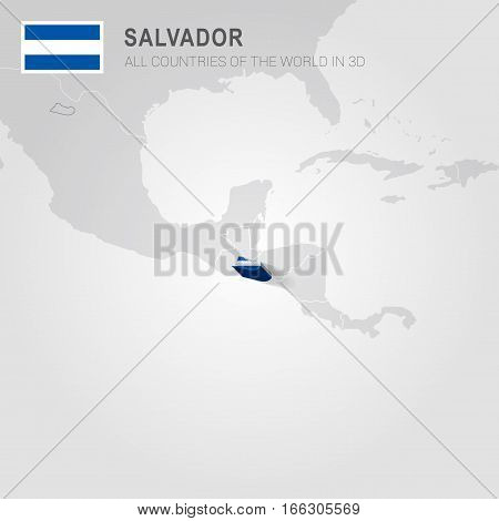 Salvador painted with flag drawn on a gray map.