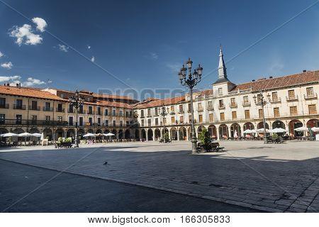 LEON, SPAIN - JULY 26, 2016: Leon (Castilla y Leon Spain): historic buildings in Plaza Mayor the main square of the city