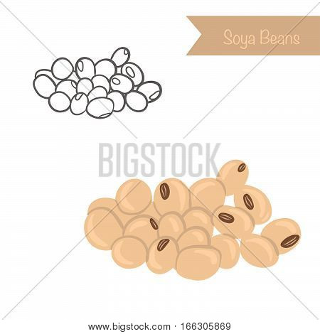 Hand drawn outlined and colored vector soya beans
