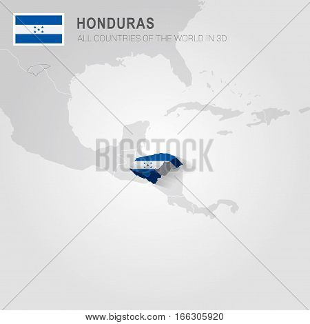 Honduras painted with flag drawn on a gray map.