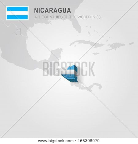 Nicaragua painted with flag drawn on a gray map.
