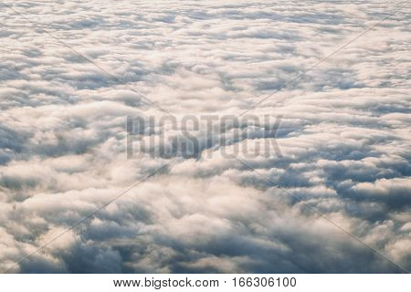 Surface above moving cloud with sunlight in morning of winter season
