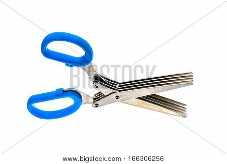 Herb and spice scissors with comb on a white background. Special scissors with multiple blades and blue handles isolated on white background.