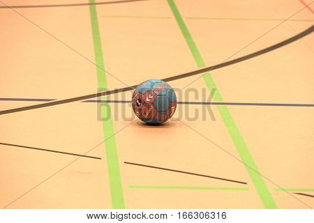 FRANKFURT, GERMANY-JANUARY 22, 2017: Calmly at the bottom of a sports hall lying handball ball
